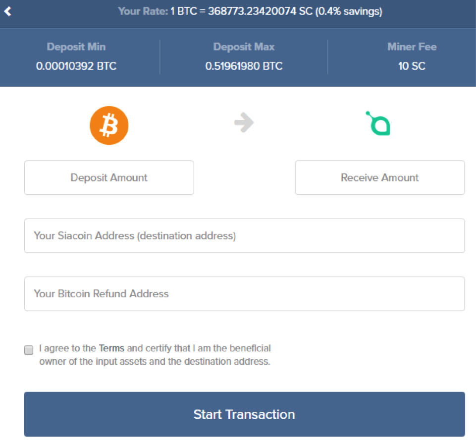 siacoin shapeshift purchase