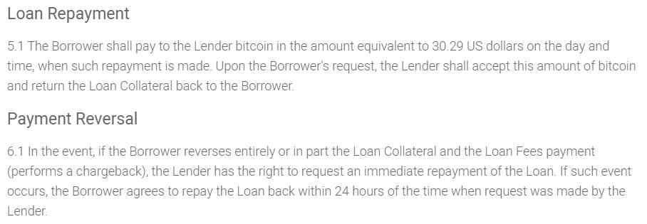 xCoins loan agreement - lenders are obliged to pay back borrowers